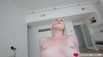 Stepsiblings ended up naked and fucking until Alice became beat and got her face sprayed with cum!