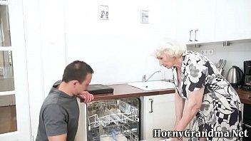 Mature grannys mouth cum