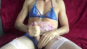 Sexy crossdresser wanking hard
