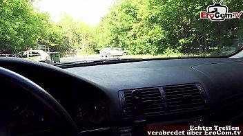 German skinny milf Slut pick up on street and fuck outdoor - REAL DATE pov