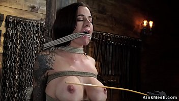 Bdsm whipping post - Busty slave in hogtie suspension