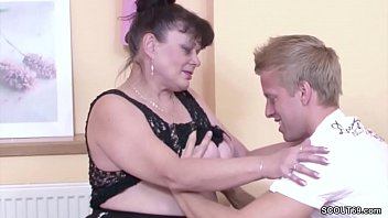 Granny saggy tits - German virgin young guy seduce granny to fuck for first time