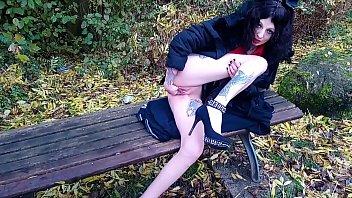 Satanic slut selffisting in public park
