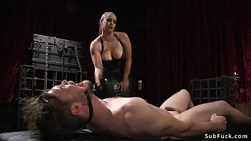 Busty mistress anal fucks male sub doggy