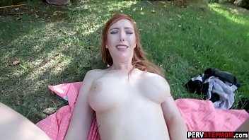 Horny busty MILF stepmom got fucked in the backyard