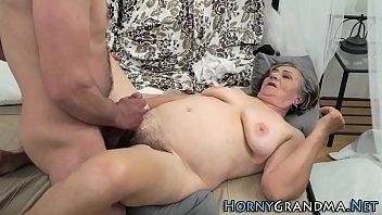Fat hairy granny banged