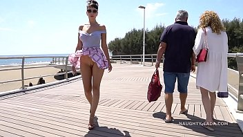 Girl court in the nude Short skirt and wind. public flashing...