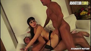 AMATEUR EURO - #Luna Oara - Big Booty Italian Brunette Gets DP From Two Daddies