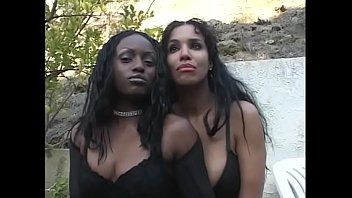 Hughs girlfriends nude Two ebony honeys soleil and jada fire share one hard cock in front of the fireplace