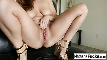 Naturally stacked cutie Natasha stuffs her tight pussy