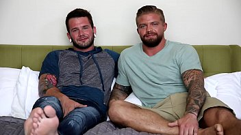 Gay hunk blowjob - Nextdoorbuddies hot tatted beefcakes first time