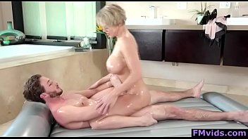 Big tits milf fucking with young guy after massage