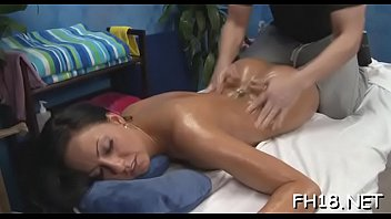 This sexy 18 year old hot beauty gets drilled hard from behind by her massage therapist