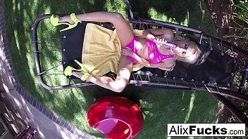 Big tittied Alix Lynx fucks herself hard on a hammock!