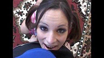 young brunette sucks in POV