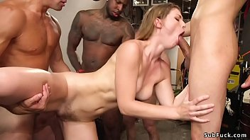 Brunette hottie takes group facial cumshot