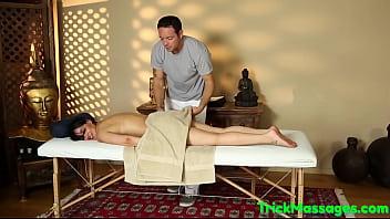 Gorgeous bigtits babe cumsprayed at massage