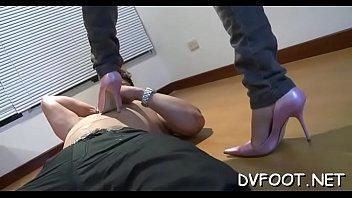 Beauty feet licked in hose