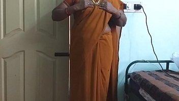 desi  indian horny tamil telugu kannada malayalam hindi cheating wife wearing saree vanitha showing big boobs and shaved pussy press hard boobs press nip rubbing pussy milf masturbation