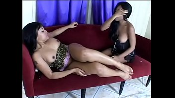 Two young black sluts Patty Kake and Pipe-her Down have a fun fucking with double-headed dildo