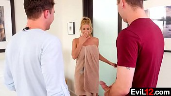 With her husband out of town, this busty stepmom is easy to persuade into an illicit threesome with young stepson and his buddy - 69VClub.Com