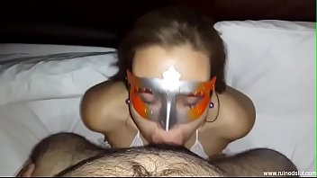 Masked mom in lingerie loves to deep throat