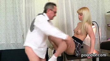 Kissable college girl gets seduced and fucked by her older tutor