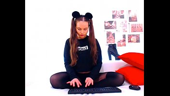 webcam, brunette cutie, mouse ears, silent