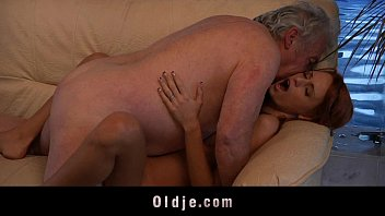 Fucking positions to satisfy Grandpa lucky to fuck a sexy young redhead babe
