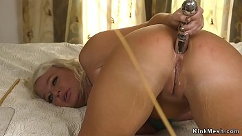 Bound blonde takes big cock up ass