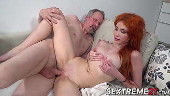 Young redhead stuffed with grandpas cock and cum