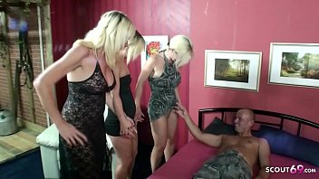 German Virgin Daughter teach Sex by Step Mom and Aunt with Stranger Guy in Foursome