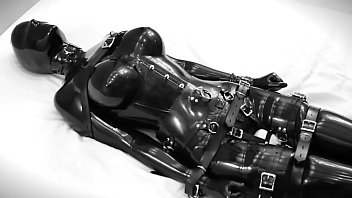 Sm fetish latex Rubber doll masturbates, then is bound and vibrate