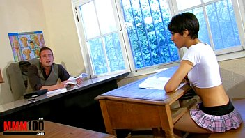 Arab babe in school uniform fucked by her teacher