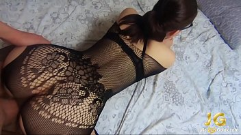 Streaming Video Brunette Blowjob Dick and Hard Doggy Sex in Grid Lingerie - XLXX.video