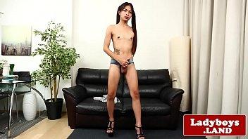 Thai ladyboy wanks until she squirts cum