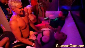 Glam party slut rides rod