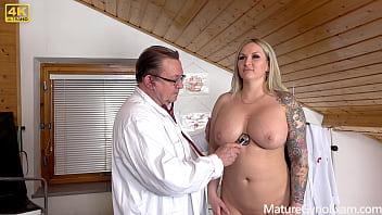 Big busty pornstar Jarushka Ross on her kinky gyno exam