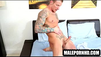 Bald Hunk With Tattooes Gets A Blowjob