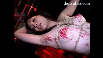 Japanese asian lesbian strapon fucked hot red wax