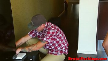 Teen babe roughly drilled by horny cable guy