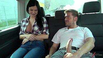 Ryan Ryder convince young innocet sweet Jasmine Jae to fuck in driving van