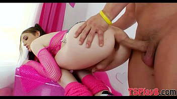 Small titted tranny gets her ass nailed