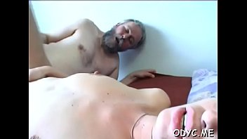 Horny juvenile amateur babe gives old guy a steamy blowjob