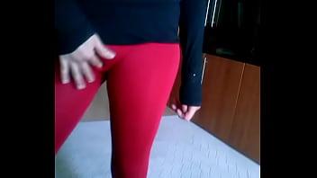 teen in leggings tight pants fingering