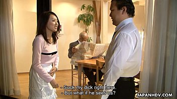 Asian maid sucking him in front of his client