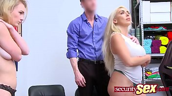 Two hot blondies get hard fucked in a threesome after a security guard caught them stealing. Join us