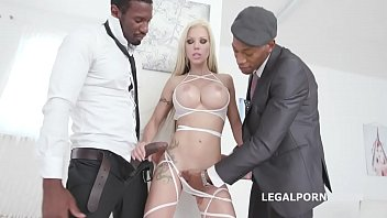 Sin blog porno - Blonde goddes barbie sins gets 2 bbcs with big gapes, balls deep anal dap