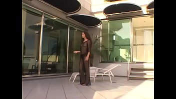 Beautiful darkhaired hottie with perfect body Vanessa was thrown on buttonhole by horny black stud near the pool