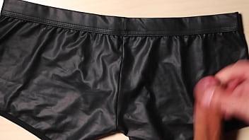 Jerk and Cum on girlfriend black leather sexy panties